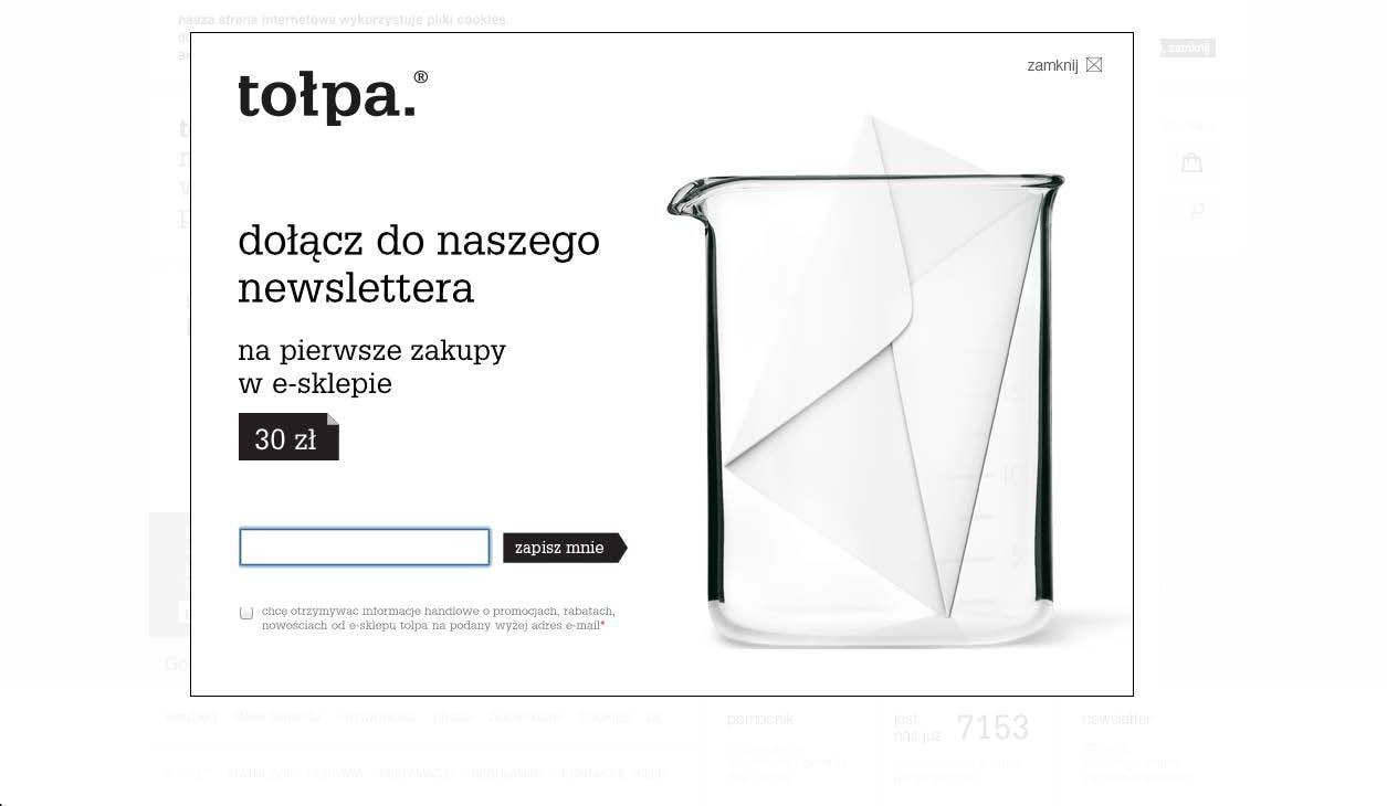 Formularz typu pop over na stronie firmy Tołpa.