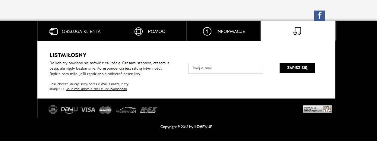 Intersujący nagłówek formularza firmy Lovenue – firma wysyła do klientek listy miłosne.