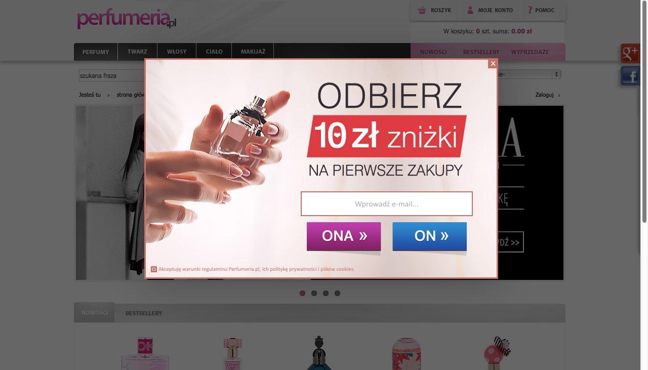 Formularz typu light box na stronie perfumeria.pl. W treści formularza umieszczona została zachęta w postaci zniżki na pierwsze zakupy.