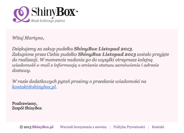 Wiadomość potwierdzająca przyjęcie zamówienia do realizacji od ShinyBox.
