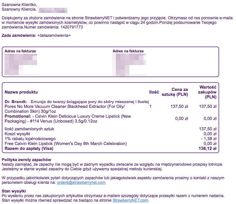 Wiadomość od StrawberryNET wysłana po złożeniu zamówienia. Zawiera podziękowanie oraz szczegółowy wykaz zamówionych produktów.