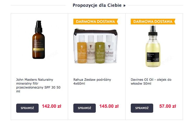 Fragment newslettera firmy estyl.pl, prezentujący rekomendowane produkty.