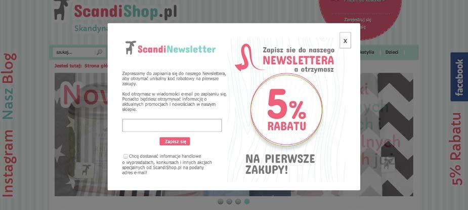 Formularz lightbox na stronie marki Scandi