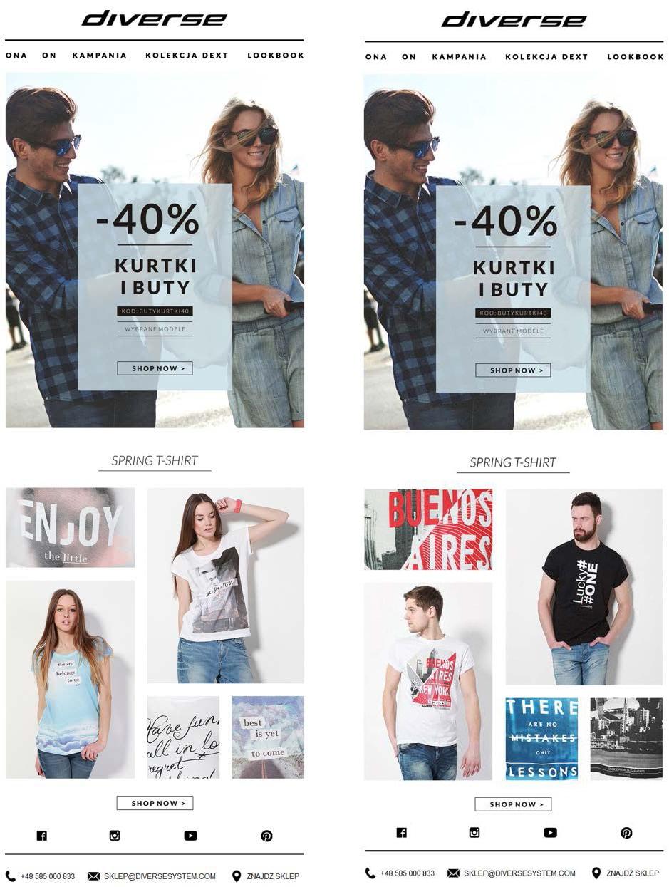 Przykłady wiadomości od marki Diverse