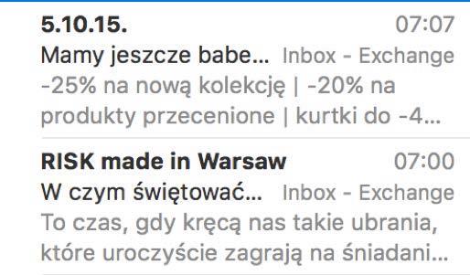 Preheader widoczny w programie Mail (szary kolor)