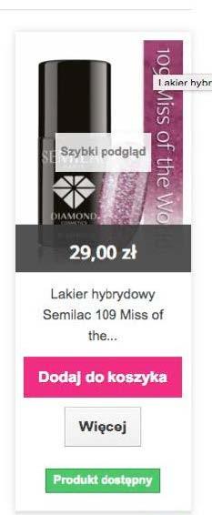 Wiele CTA na stronie kategorii semilac.pl