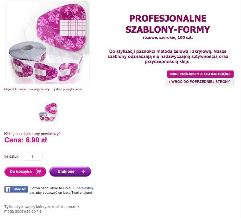 Równorzędne CTA na stronie produktu allepaznokcie.pl