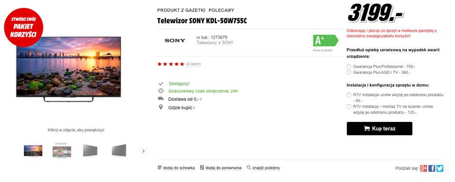 Wyraźny przycisk CTA na stronie mediamarkt.pl