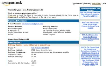 Przykład wiadomości potwierdzającej zrealizowane zamówienie od Amazon.co.uk