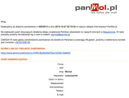 Przykład wiadomości potwierdzającej zrealizowane zamówienie od Panmol.pl