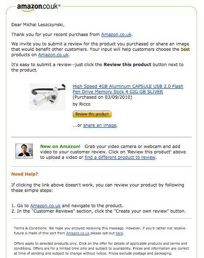 Prośba o wystawienie opinii produktu lub sklepu od Amazon.co.uk