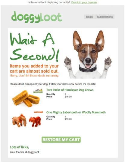 Wiadomość przypominająca o pozostawionym pełnym koszyku od marki Doggyloot.com
