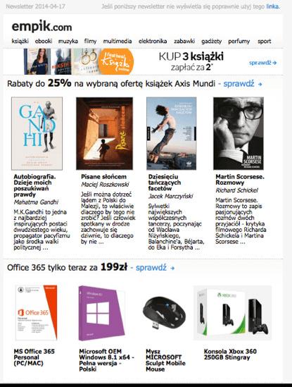 Regularny newsletter ofertowy od marki Empik.com