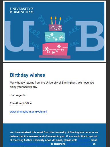 Wiadomość urodzinowa od Uniwersytetu z Birmingham