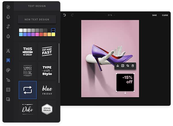 Powerful, built-in photo editor