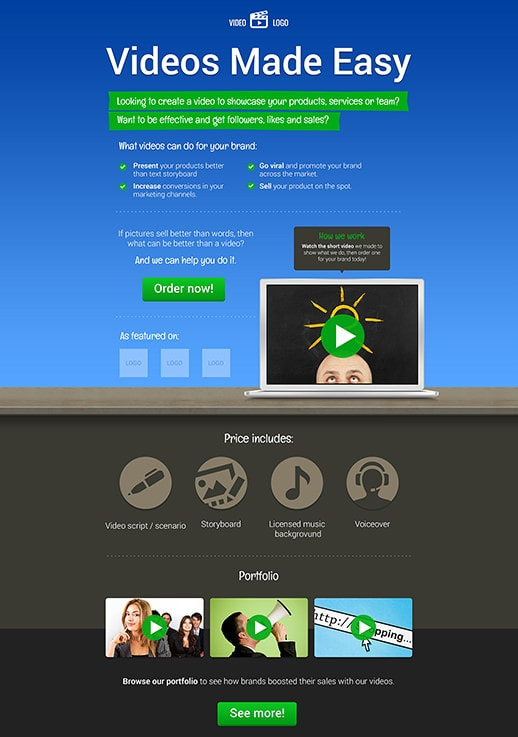 Video Landing Page Templates By GetResponse - Video landing page templates