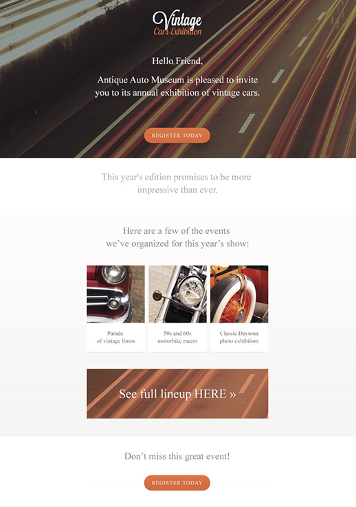 Vintage Cars newsletter template