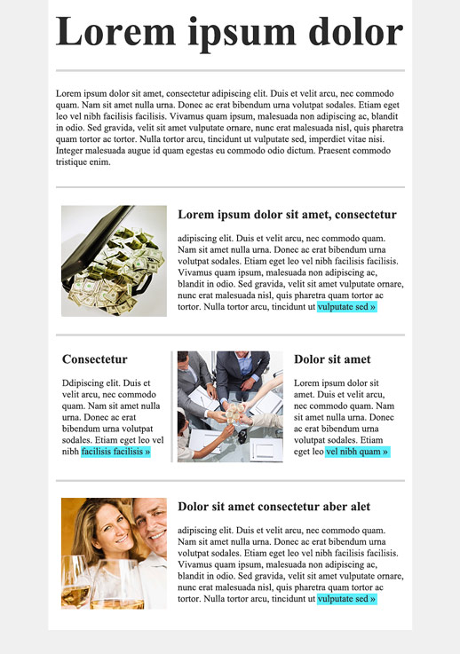 Mod le de bulletin services financiers email marketing for Email bulletin template