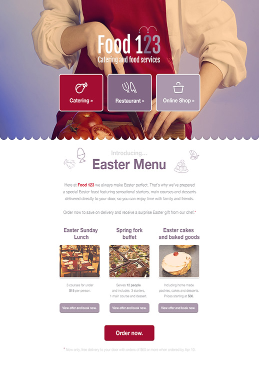 Easter Menu newsletter template