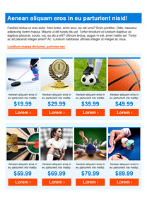 Sports Categories Blue newsletter template