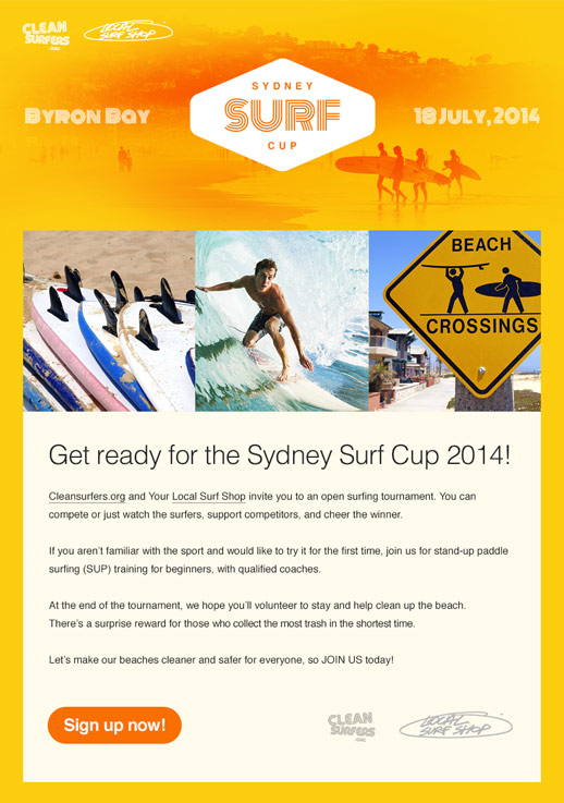 Surf Course Newsletter Template Sport Camp