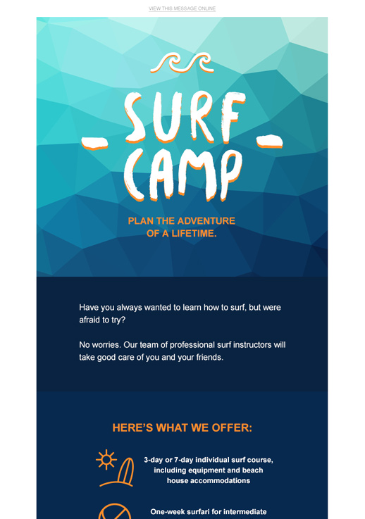 Surf Camp newsletter template